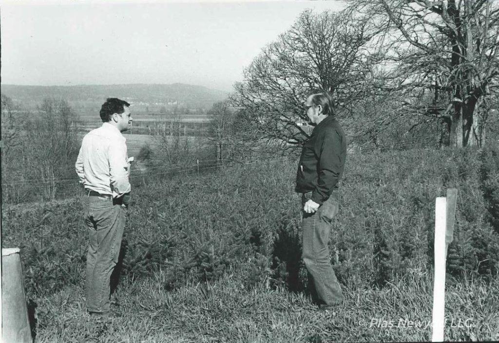 "Seedling Nursery, Rhidian Morgan (left) and Henry E ""Ed"" Deyo of Weyerhauser, 1967-68"